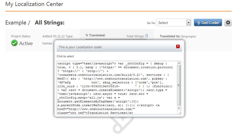 Website Translation - Get Localization Code